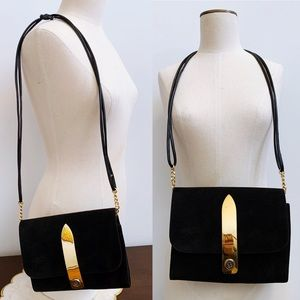 Vtg Black Suede Leather Purse Made in Argentina